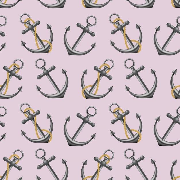 Морской якорь с веревкой. векторная иллюстрация шаблон