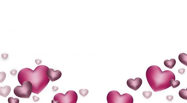 幸せなバレンタインデーの背景に心、トレンディなバナー、ポスター、グリーティングカードの現在の構成