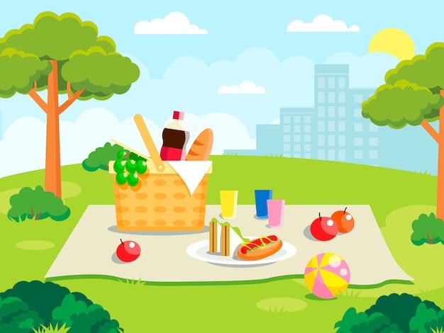 森のイラストで夏のピクニック。ピクニックパーティーのものと家族の概念
