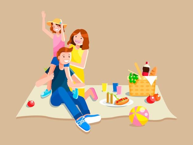 ピクニックを持っている若い家族。ベクトル漫画分離イラスト