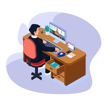 Бизнесмен слушает бизнес отчет в онлайн видео конференции на компьютерном устройстве.