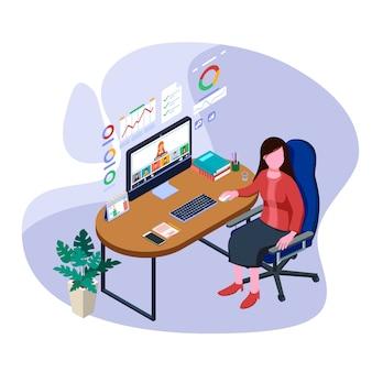 Работник дела с иллюстрацией компьютерной технологии. изометрические онлайн встреча концепции.