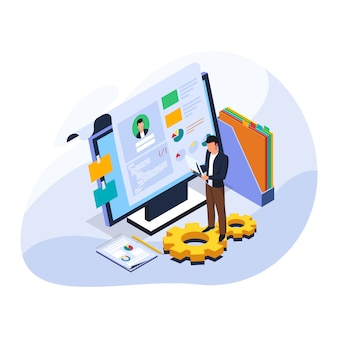 スタッフの履歴書とデータをコンピューターで分析。等尺性ビジネスイラストは、人材のプロセスを募集します。