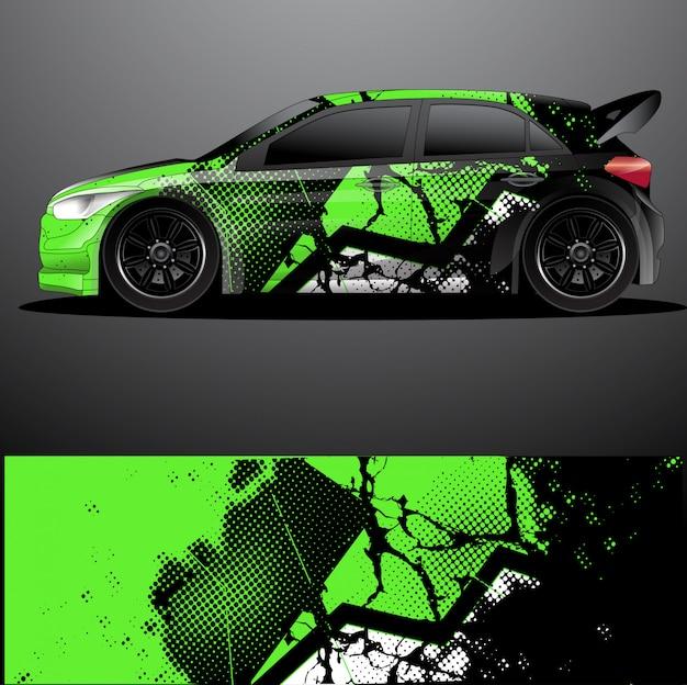 Раллийный автомобиль наклейка графическая упаковка вектор, абстрактный фон