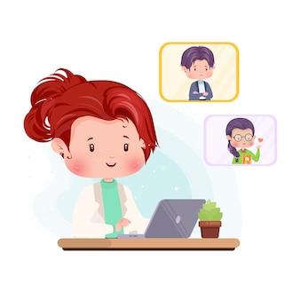 ビデオ通話のキャラクターの概念図物理的な社会的距離