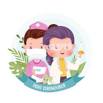 Иллюстрация концепции характера медсестры доктора и ученого с коронавирусом
