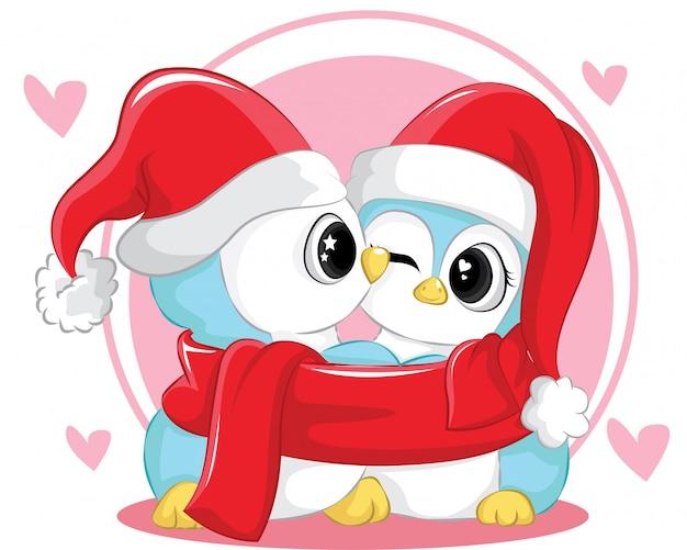 Милая пара маленький пингвин в теплой шапке и шарфе