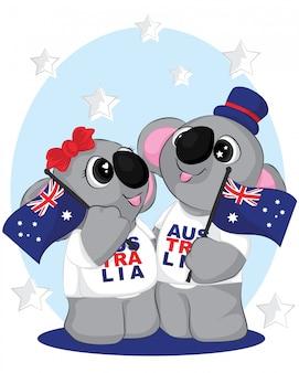 Милая пара коала с флагом австралии