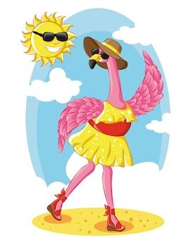 ビーチのベクトル図に太陽と夏の帽子をかぶっている美しいピンクのフラミンゴ。