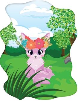 花の冠と森の中の紫キツネ