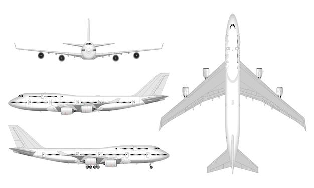 Реалистичный большой пассажирский самолет. вид сверху; передний план; вид сбоку.