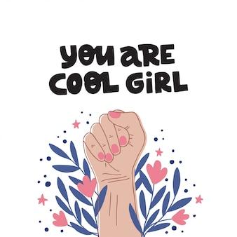 フェミニズムのスローガンあなたはクールな女の子です。女の子の力のシンボル。女性の権利。手描きの創造的なレタリング。国際女性の日のフラットカラーのイラスト。