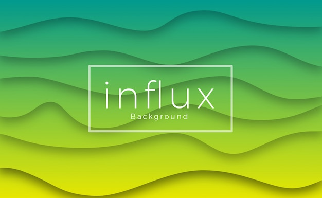 カラフルな緑と黄色の波の背景