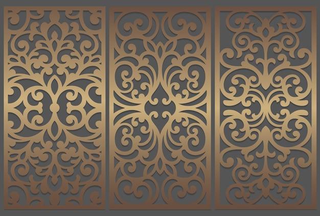 レーザーカットパネルデザイン。レーザーカット、ステンドグラス、ガラスエッチング、サンドブラスト、木彫り、カード製造、結婚式の招待状の華やかなビンテージボーダーテンプレート。