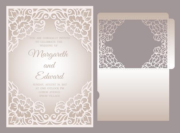 レーザーカットの結婚式招待状ポケット封筒テンプレート。花のフレームデザイン。