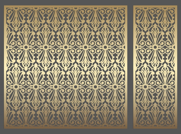 レーザーカットパネルデザイン。レーザー切断、ステンドグラス、ガラスエッチング、サンドブラスト、木彫り、カード製造、結婚式の招待状の華やかな繰り返しビンテージベクトル境界線テンプレート。