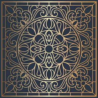 正方形の天井パネルのステンドグラスの窓。抽象的なマンダラの花、まんじ、対称構成、ステンドグラス。