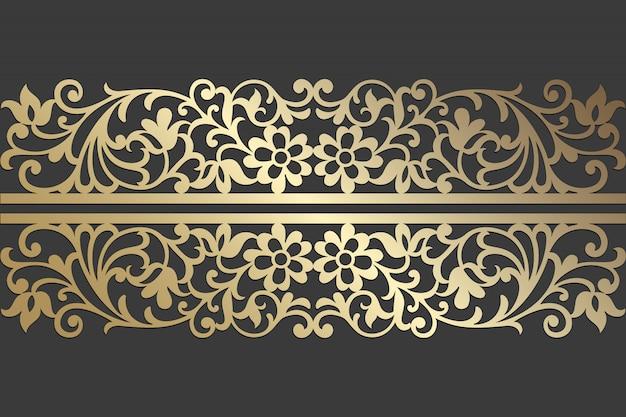 フローラルレースレーザーカットパネルデザイン。レーザー切断、ステンドグラス、ガラスエッチング、サンドブラスト、木彫り、カード製造、結婚式の招待状の華やかなビンテージベクトル境界線テンプレート。