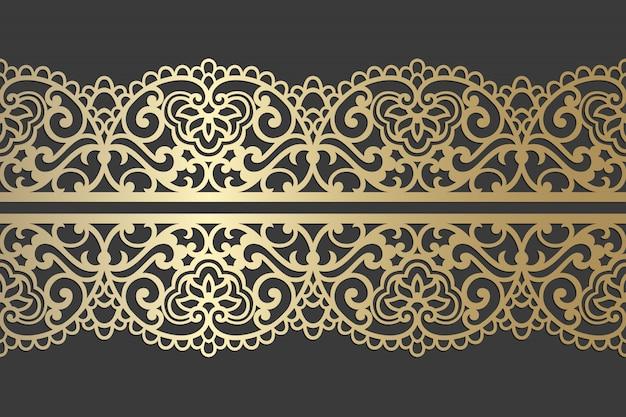 レーザーカットパネルデザイン。レーザー切断、ステンドグラス、ガラスエッチング、サンドブラスト、木彫り、カード製造、結婚式の招待状の華やかなレースビンテージベクトル枠テンプレート。