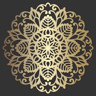 マンダラの花の美しいベクトルヴィンテージ装飾的な要素東洋図。レーザーカットのコースターデザイン。