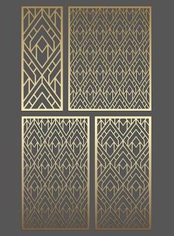 幾何学的な装飾パネルテンプレート。装飾パネルのパターン。彫刻、レーザー切断、木材、金属、ステンシル製造に適した画像。