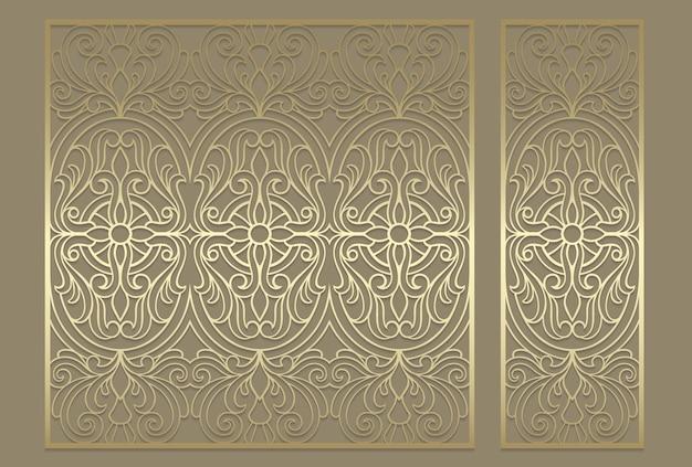 レーザーカットパネルデザイン。レーザー切断、ステンドグラス、ガラスエッチング、サンドブラスト、木彫り、カード製造、結婚式の招待状の華やかなビンテージボーダーテンプレート。