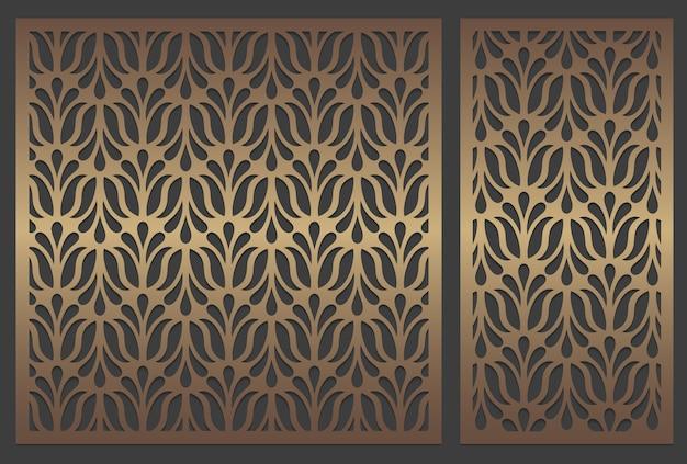 レーザーは、抽象的なパターンを繰り返すパネルデザインをカットしました。装飾的なステンシルテンプレート。