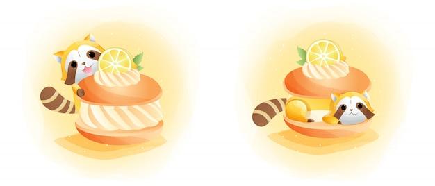 かわいいアライグマとレモンケーキの水彩アートスタイル。ベビーカード用。