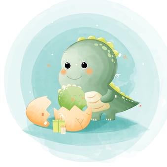Акварель мамы и ребенка динозавров с подарком.