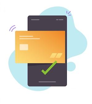 スマートフォンフラット漫画イラストの携帯電話または非接触型ペイパス決済デジタル技術を介してワイヤレスでクレジットカードをオンラインで支払う