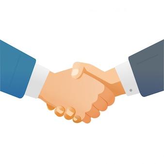 白い背景のクリップアートに分離された成功パートナーシップ契約概念図としてビジネスの男性またはビジネスマンの手を振るの手を振る握手