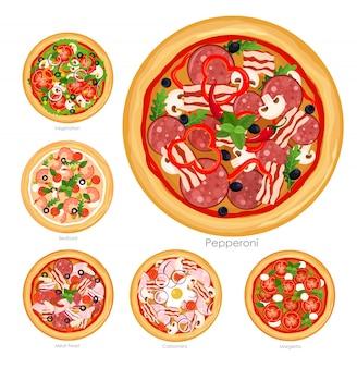 Иллюстрация набор пиццы с различными ингредиентами. очень вкусные вегетарианские пицца и пицца с собранием мяса и грибов на белой предпосылке, здоровой концепции еды.