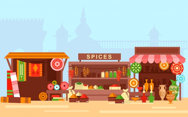 アジア市場フラット漫画の概念図。古い東部の街の背景にアラビア語バザー
