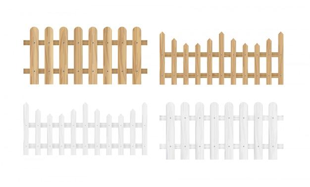 Иллюстрация набор различных деревянных заборов в светло-коричневого и белого цвета и различных форм в плоском стиле.
