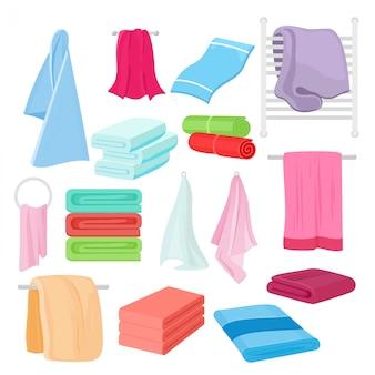 Иллюстрация набор мультфильм полотенца в разные цвета и формы. тканевое полотенце для ванной.