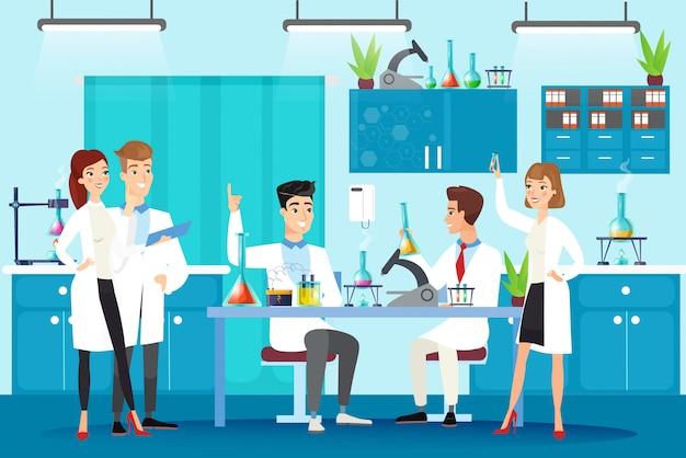 Научная лаборатория плоской иллюстрации. химический лабораторный эксперимент, учеба, исследование. люди в белых халатах, ученые на рабочем месте работают вместе персонажами в мультяшном стиле.