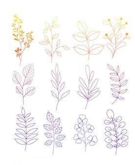 Иллюстрация набор простых рисунков цветов и веточек с листьями в цветовой линии е на белом фоне.