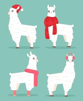 冬スタイルのラマのイラスト。アルパカの冬服セット。帽子とスカーフでラマ、漫画フラットスタイルのグリーティングカードとクリスマスカードのコンセプトです。