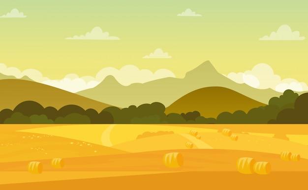 フラットな漫画のスタイルでパステルカラーの美しい空と夕暮れ時のフィールドと山の秋の風景。