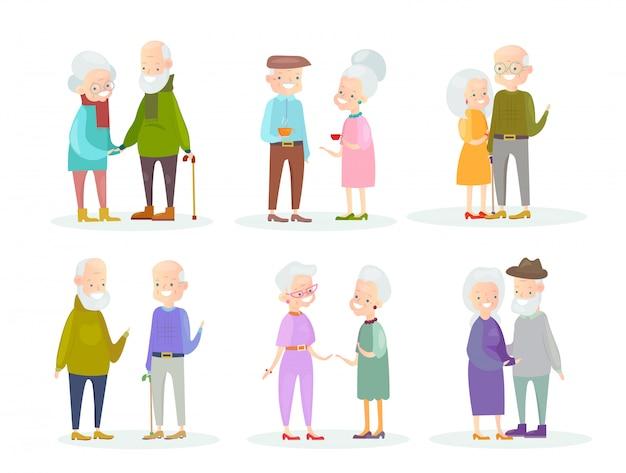 白地にキュートで素敵な古い人のカップルのイラストセット。男と女が話していると歩いて、笑顔で一緒に立って、友達、漫画フラットスタイルのハンサムな老人。