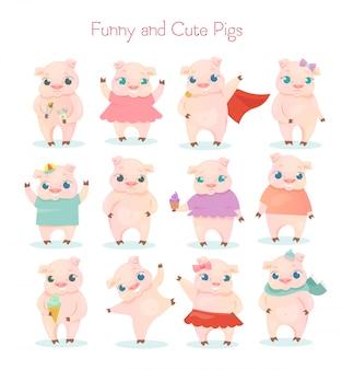 面白いとかわいい小さな漫画のブタのキャラクターがさまざまなポーズと白い背景の状況でポーズのイラストセット。素敵な漫画の豚のコレクション。