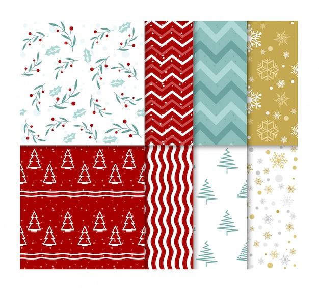 Набор бесшовных ярких рождественских образцов со снегом и рождественскими елками в плоском мультипликационном стиле.