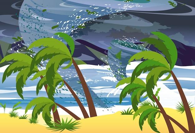 海でハリケーンのイラスト。ビーチに巨大な波。フラットスタイルの熱帯自然災害の概念。