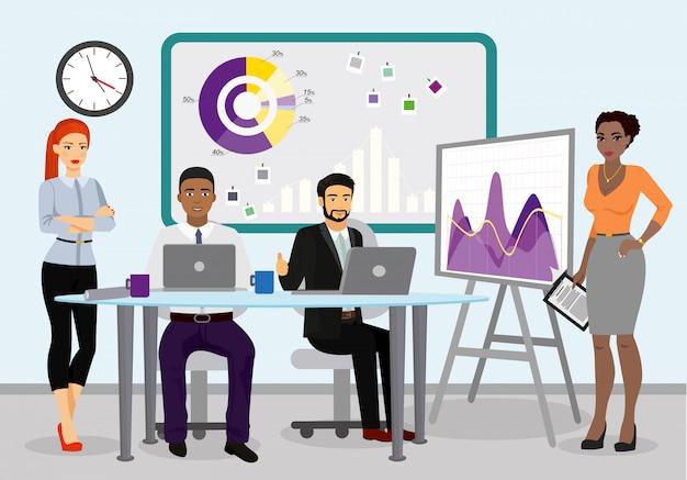 Иллюстрация бизнес менеджеров, работающих вместе. бизнесмен, ведущий презентацию во время встречи в офисе иллюстрации.