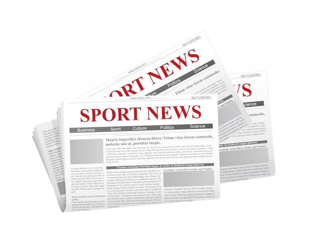 Иллюстрация газеты с заголовком новости в плоский на белом фоне с тенью ниже.