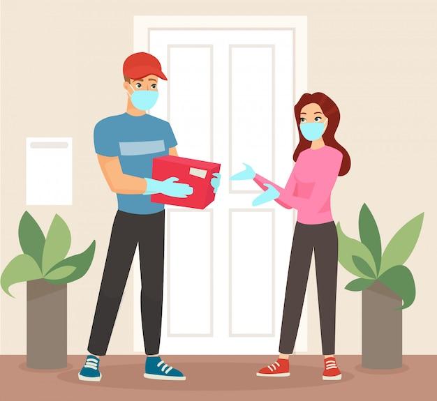 マスクとメディカルマスクの女性にパッケージを与える医療用手袋の配達人のイラスト。宅配便からパッケージを受け取る女性。