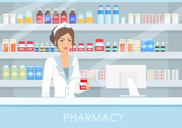 Красивая женщина-фармацевт во внутренней аптеке или аптеке с таблетками и лекарствами, бутылками с витаминами и таблетками в плоском стиле. здоровый образ жизни, концепция медицины.