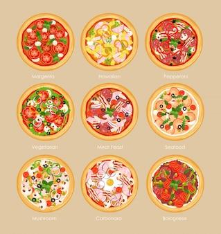 Набор пиццы с различными ингредиентами, вегетарианская пицца, маргарита и морепродукты. концепция меню пиццы в плоском стиле.