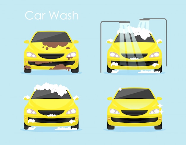 洗車コンセプトのベクターイラストです。カラフルな黄色の車は、フラットな漫画のスタイルで青色の背景を一歩一歩掃除しています。