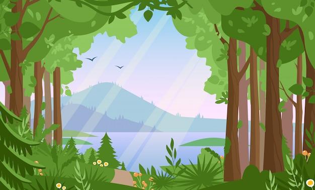 森林景観フラットイラスト。森の風景、野生生物のパノラマ、湖と山、丘陵地帯のシーン。自然、夏、田園風景、緑の谷のパノラマビュー。